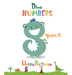 Number 8 in the form of a dinosaur vector