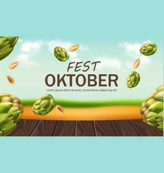 October fest poster with hops realistic vector