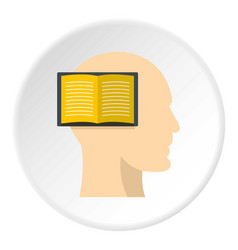 open book inside a man head icon circle vector image
