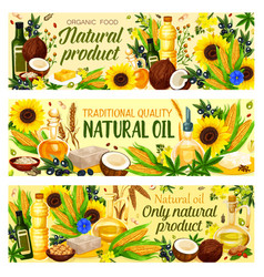 Organic vegetable cooking oils vector