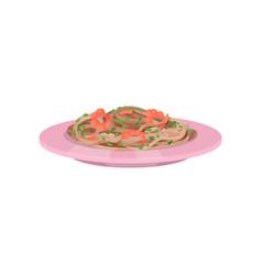 Pasta with shrimps italian cuisine vector