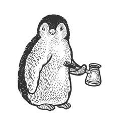 penguin with coffee cezve sketch vector image
