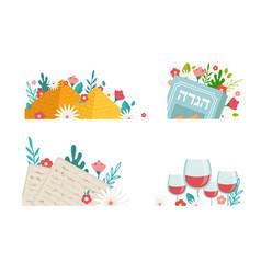 Pesah celebration greeting icons jewish passover vector