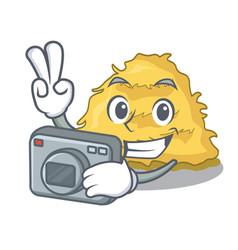 Photographer hay bale mascot cartoon vector