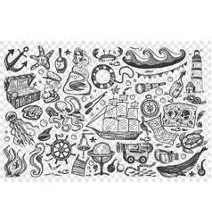 pirates hand drawn doodle set vector image