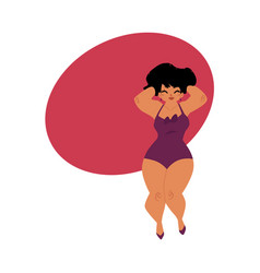 plump plus size caucasian curvy woman girl in vector image