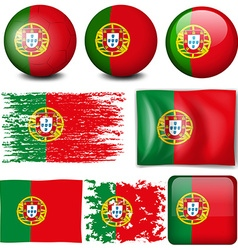 Portugul flag on many items vector image