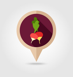 Radish flat pin map icon vegetable vector