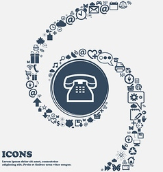 Retro telephone handset icon sign in the center vector