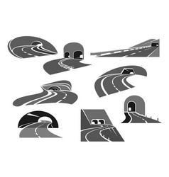road tunnel icon set with highway and freeway vector image