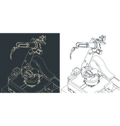 Robotic welding machine drawings vector