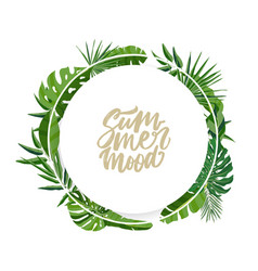 round garland or wreath made palm tree leaves vector image