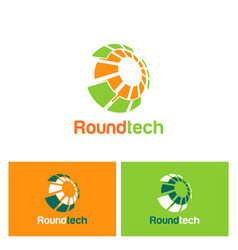 round technology sphere logo vector image