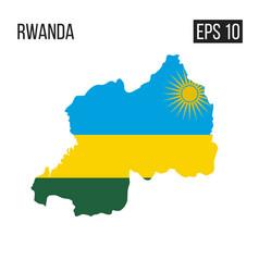 Rwanda map border with flag eps10 vector