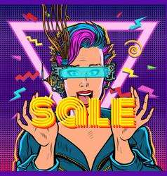 sale online shopping joyful woman in virtual vector image