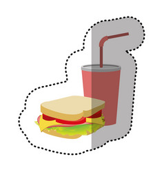 Sandwich with soda flat icon vector