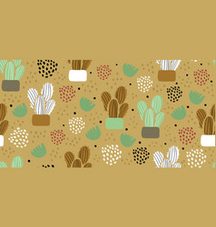 seamless pattern with cactuses succulents vector image