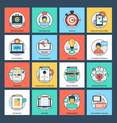 seo and development flat icons vector image