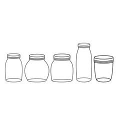 Set mason jars monochrome vector