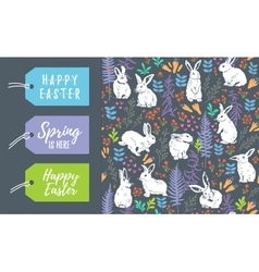 Set of Easter tags and seamless pattern vector