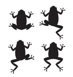 Set of frog silhouettes on white background vector