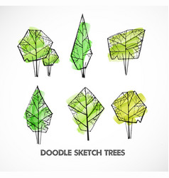 set of green doodle sketch trees on white vector image
