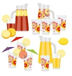 Set of pitcher and glasses vector