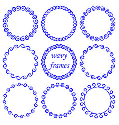 set of round wavy blue frames in nautical style vector image
