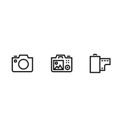 set photo and video camera icon slr digital pro vector image