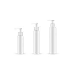 Set plastic bottles with pump various sizes vector