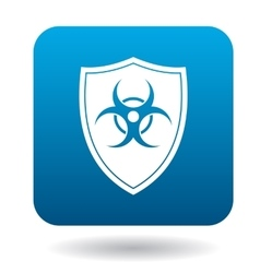 Shield with a biohazard sign icon simple style vector image