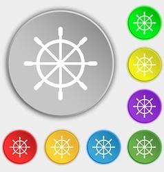 Ship steering wheel icon sign Symbol on eight flat vector