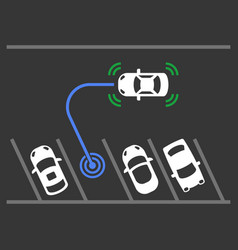 smart car parking assist system top view vector image
