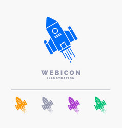 Space craft shuttle space rocket launch 5 color vector