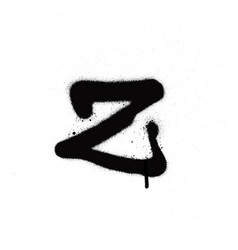 sprayed z font graffiti with leak in black vector image