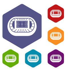 Stadium top view icons set vector