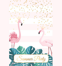 Summer party template flamingo birds couple crown vector