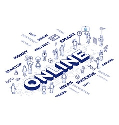 three dimensional word on line with peopl vector image