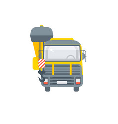 truck with crane front view vector image