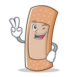 Two finger band aid character cartoon vector
