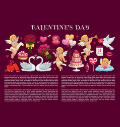 valentines day gifts love hearts cake and cupids vector image