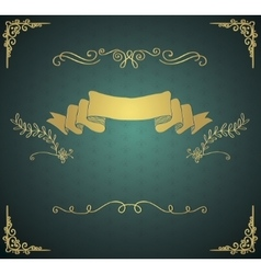 Vintage Card with Golden Hand Sketched vector