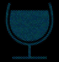 wine glass composition icon of halftone spheres vector image