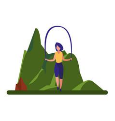 woman jumping rope near tree vector image