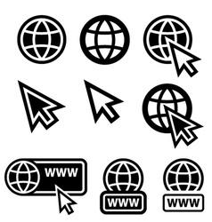 World wide web globe cursor icons vector