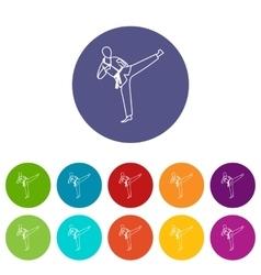 Wushu master set icons vector image
