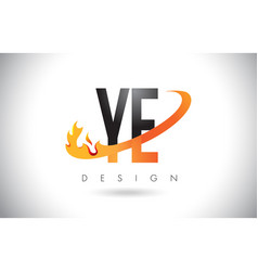 ye y e letter logo with fire flames design and vector image