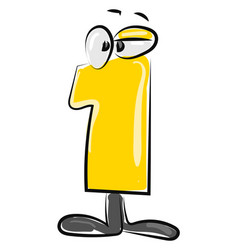 yellow number one with eyes on white background vector image