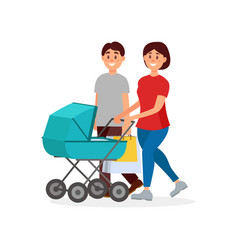 young family walking after shopping mother vector image