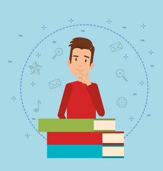 young man with books character vector image